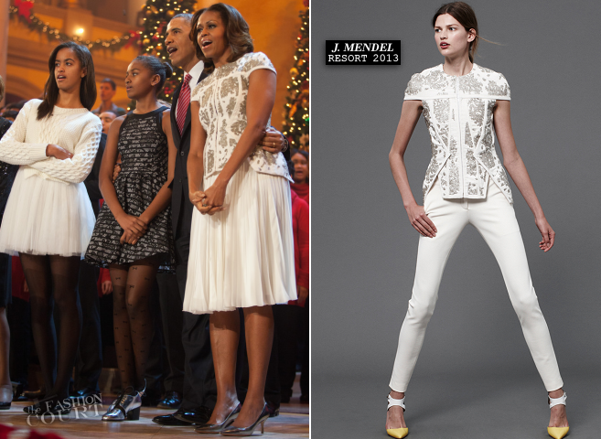First Lady Michelle Obama in J. Mendel | TNT Christmas In Washington 2013