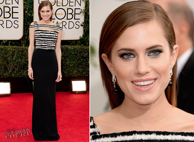 Allison Williams in Alexander McQueen |  2014 Golden Globes