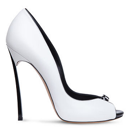 Casadei BLADE Peep Toe Nappa Pump with Patent Piping
