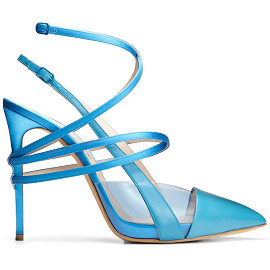 Casadei for Prabal Gurung Spring 2014 Strappy PVC Satin Pumps
