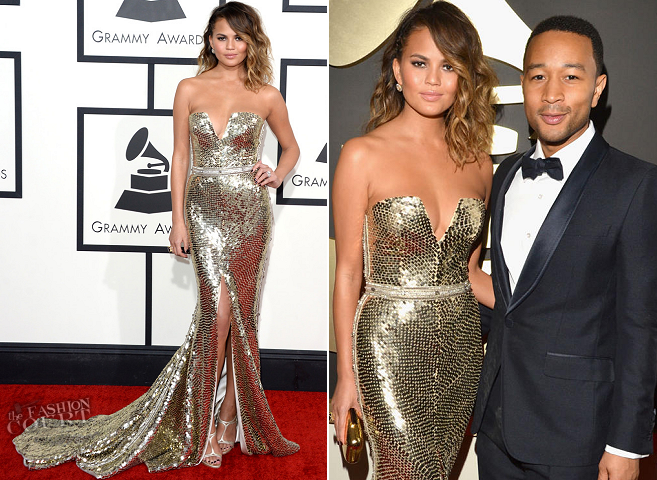 Chrissy Teigen in Johanna Johnson & John Legend in Gucci | 2014 GRAMMY Awards
