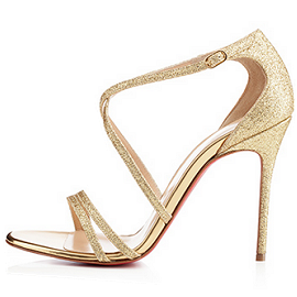 Christian Louboutin Gwynitta 100mm Glitter Open-Toe Sandals