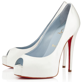 Christian Louboutin VENDOME Open Toe Platform Pumps in Crepe Satin Dyeable White