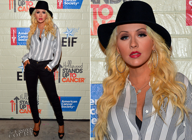 Christina Aguilera in Theory & Frame Denim | Hollywood Stands Up to Cancer