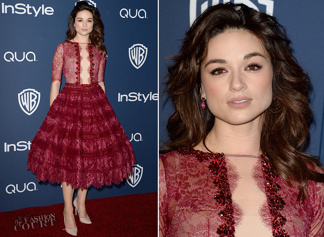 Crystal Reed in Michael Cinco | 2014 Warner Bros. / InStyle Golden Globe Awards After Party