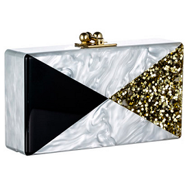 Edie Parker JEAN Glitter Pearlescent Triangle Box Clutch