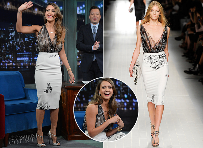 Jessica Alba in Blumarine | 'Late Night with Jimmy Fallon'
