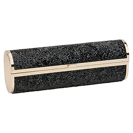 Jimmy Choo COSMA Glittered Tube Clutch in Black/Gold - Spring 2013
