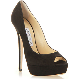 Jimmy Choo VIBE Platform Open Toe Pumps in Black Suede