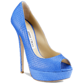 Jimmy Choo VIBE Platform Open Toe Pumps in Blue Snakeskin