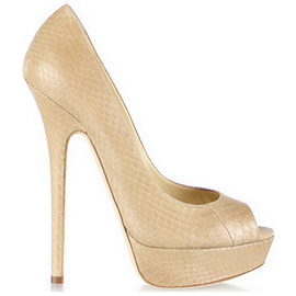 Jimmy Choo VIBE Platform Open Toe Pumps in Nude Leather