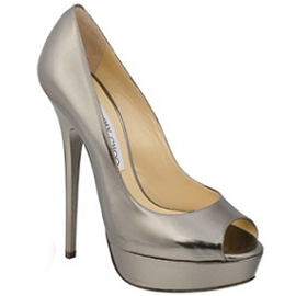 Jimmy Choo VIBE Platform Open Toe Pumps in Gunmetal Leather