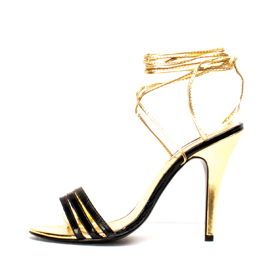 Kathryn Amberleigh Fall 2013 Strappy Gold Sandals