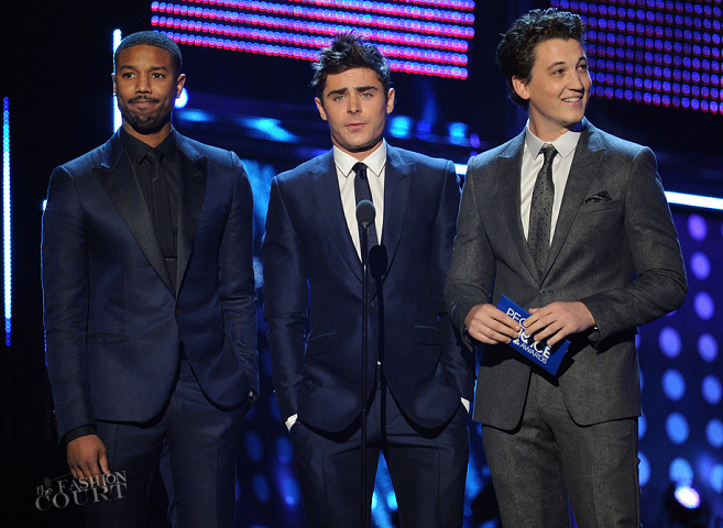 Michael B. Jordan in Lanvin & Zac Efron in George Clinton | 2014 People's Choice Awards