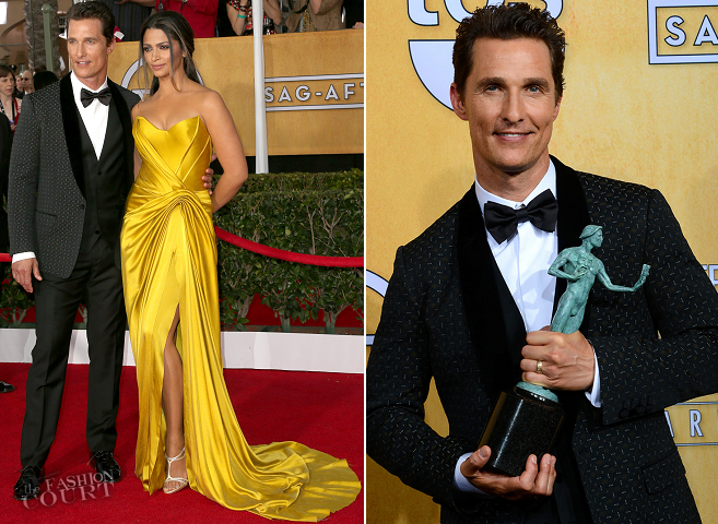 Matthew McConaughey in Dolce & Gabbana and Camila Alves in Donna Karan Atelier | 2014 SAG Awards