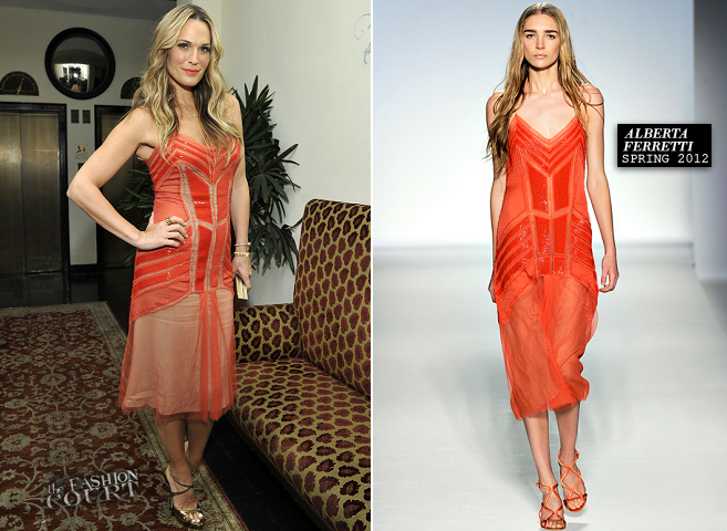 Molly Sims in Alberta Ferretti | W Magazine's Golden Globes 2014 Celebration