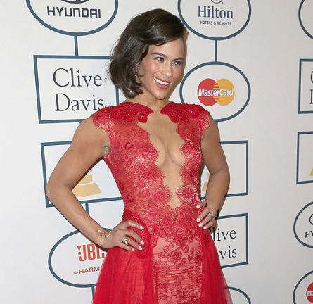 Paula Patton in Mireille Dagher | 2014 Clive Davis Pre-Grammy Gala