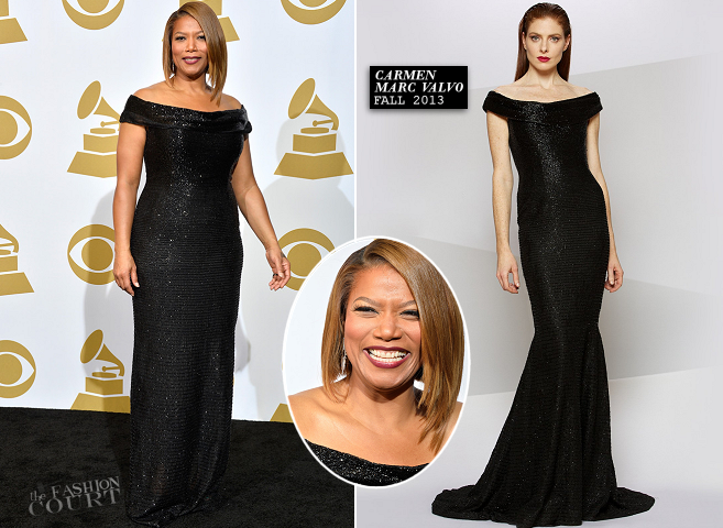 Queen Latifah in Carmen Marc Valvo | 2014 GRAMMY Awards