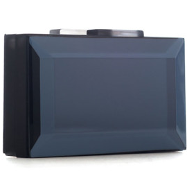 RAUWOLF Emerald Cut Gemstone Clutch in Anthracite