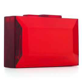 RAUWOLF Emerald Cut Gemstone Clutch in Blood