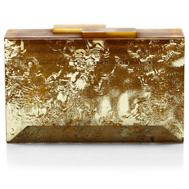 RAUWOLF Emerald Cut Gemstone Clutch in Gold Antique Mirror