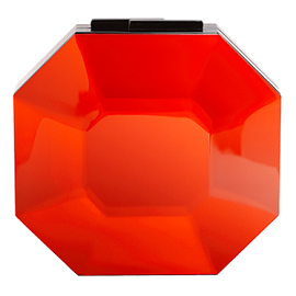 RAUWOLF Octagon Cut Gemstone Clutch in Red Orange