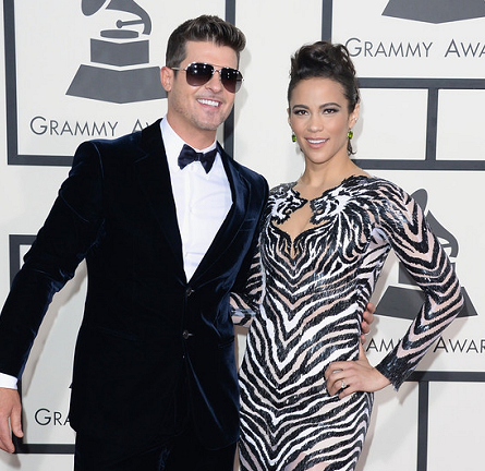 Robin Thicke in Giorgio Armani & Paula Patton in Nicolas Jebran | 2014 GRAMMY Awards