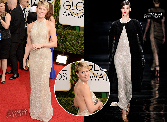 Robin Wright in Reem Acra | 2014 Golden Globes