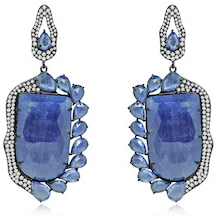 Sutra Blue Sapphire and Diamond Earrings