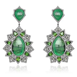 Sutra Emerald and Diamond Earrings