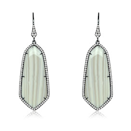 Sutra White Agate and Diamond Earrings