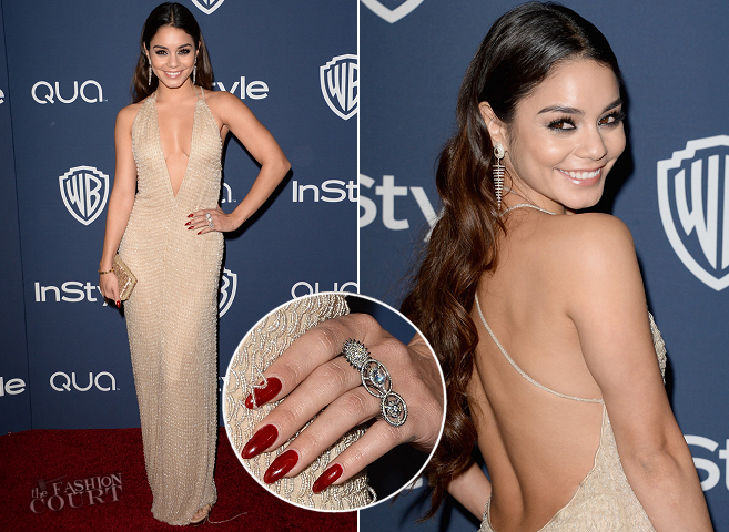 Vanessa Hudgens in Giorgio Armani | 2014 Warner Bros. / InStyle Golden Globe Awards After Party