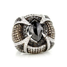 Wendy Yue White and Black Diamond Ring