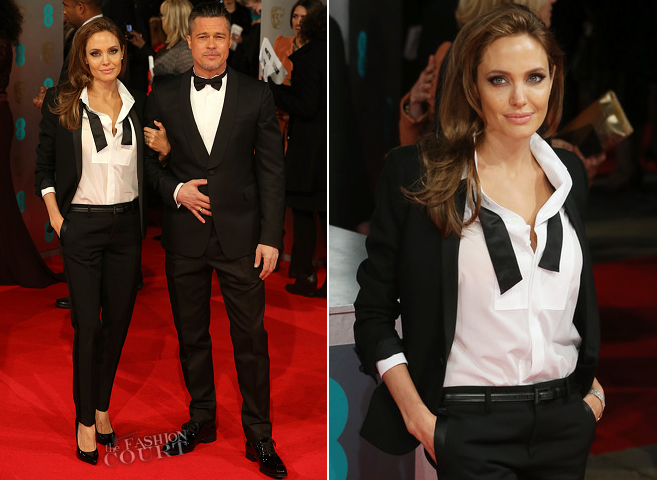 Angelina Jolie in Saint Laurent & Brad Pitt in Valentino | 2014 BAFTAs