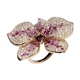 Cartier Caresse d'Orchidees Pink Gold and Diamonds Ring
