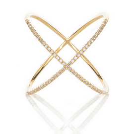 EF Collection Diamond X Ring in Gold