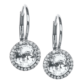 EF Collection Diamond White Topaz Drop Earrings in Rhodium