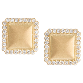 Jamie Wolf Y.G. Small Square Stud with White Diamond Edge