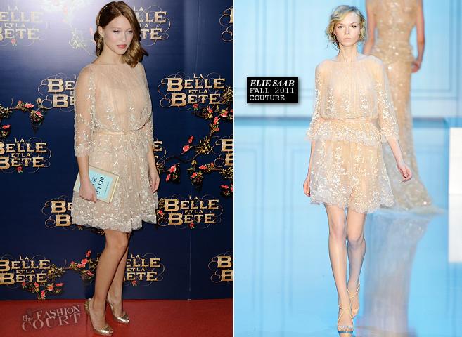Léa Seydoux in Elie Saab Couture | 'La belle et la bête' Paris Premiere