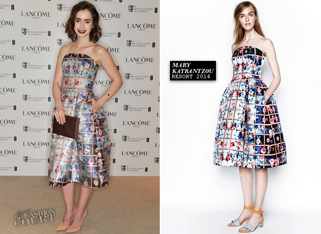 Lily Collins in Mary Katrantzou | Lancôme Pre-BAFTA Party 2014