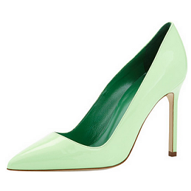 Manolo Blahnik BB Patent Point-Toe Pump, Light Green Mint
