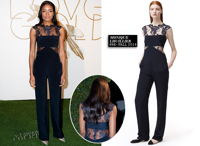 Naomie Harris in Monique Lhuillier | LoveGold Academy Awards Party