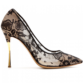 Nicholas Kirkwood Black Lace Pumps with Metal Stiletto Heel