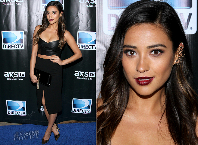 Shay Mitchell in Nicholas & Tabitha Simmons | 2014 DIRECTV Super Saturday Night