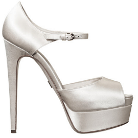 Brian Atwood TRIBECA Dye-able White Satin Platform Sandals