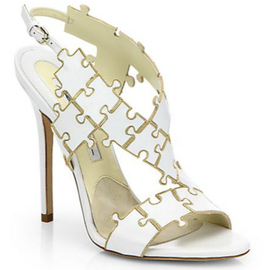 Brian Atwood SOMMER Puzzle Piece Leather Sandals