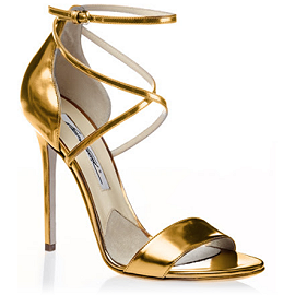 Brian Atwood TAMARA Mirrored Metallic Sandals
