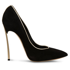 Casadei BLADE Pointe Suede Pumps with Piped Trim