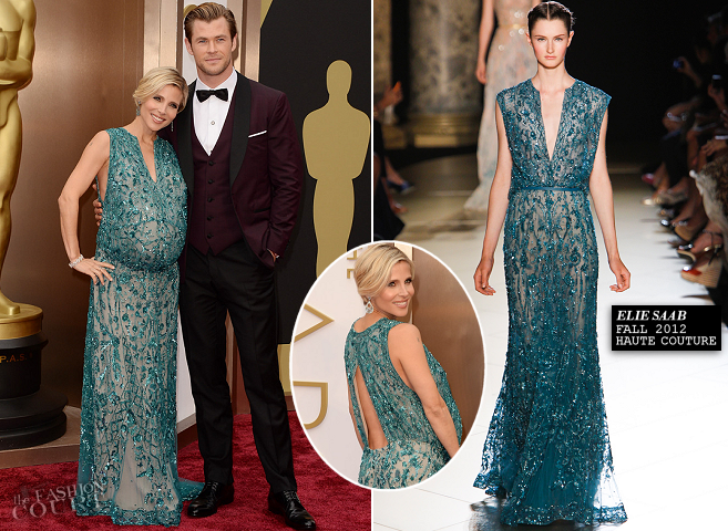 Elsa Pataky in Elie Saab Couture & Chris Hemsworth in David August | 2014 Oscars