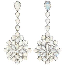 Chopard Red Carpet Collection 2014 White Gold, Diamond & Opal Drop Earrings